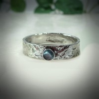 Stacking Ring Sterling Silver Chisled 4mm with 3mm Blue Topaz