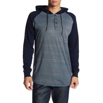 Burnside  Men's Navy Long Sleeve Striped Henley Hoodie