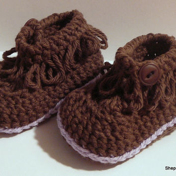 Baby Booties - Brown and Purple Fringe Booties - 6-12 Months