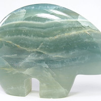 Aqua Blue Green Banded Fluorite Semiprecious Stone Carved Bear Fetish, Large 6 inches, Humongous weighs over 2 pounds, Gemstone Sculpture