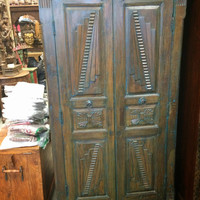 Indian Antique Armoire Blue Patina Hand Carved Wardrobe Almira 3 Shelves Cabinet