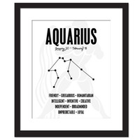 Aquarius Personality Character Traits - Constellation Star Chart Astronomy Art Print - Typography Poster - 8x10 Wall Art - Birthday Gift