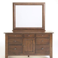 Attic Rustic Oak Door Dresser w/ Mirror by Broyhill