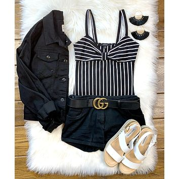Striped Bow Bodysuit: Black