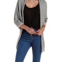 Black/Ivory Mixed Stitch Dolman Sleeve Cardigan by Charlotte Russe