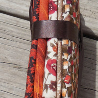 Cotton Fabric, Fat Quarter Bundle, Assorted Fall Fat Quarters, Brown, Creams and Rust Colors, Craft Supply