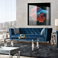 Grand Tufted Back Sofa & Chair 2PC Set with Nail Head Accent in Blue Velvet