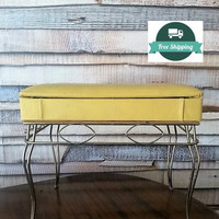Vanity stool with storage seat, yellow leather vintage make up table or piano stool, Free US SHIPPING