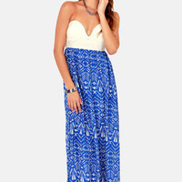 Reverse Fit to be Tide Blue Print Maxi Dress