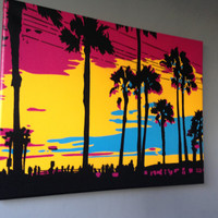 Sunset in Los Angeles stencil art painting,canvas,spray paint art,America, California,pop art,pink,yellow,blue,beach,palm trees,landscape