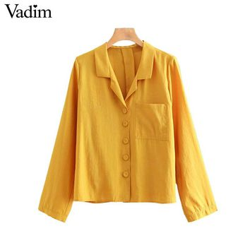 Vadim women yellow loose blouse long sleeve pocket buttons turn down collar shirts vintage female casual solid tops blusas LA704