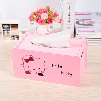 Hello Kitty Plastic Wood Board Tissue Box Hollow Carved Paper Towel Table Top Storage Box Paper Box