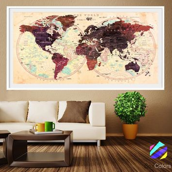 XL Poster Push Pin World Map travel Art Print Photo Paper watercolor Wall Decor Home Office (frame is not included) (P18) FREE Shipping USA!