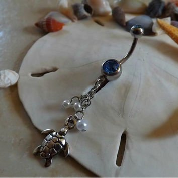Turtle Belly Ring  Blue Rhinestone with Pearl Accents Body Jewelry