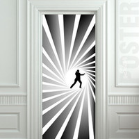 Door STICKER James Bond spy agent 007 skyfall movie mural decole film self-adhesive poster 30x79inch(77x200 cm)