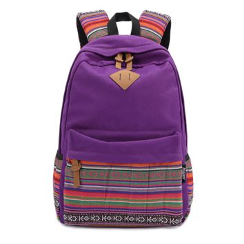 Purple Ethnic Rucksack Canvas Casual Backpack Travel Bag Daypack
