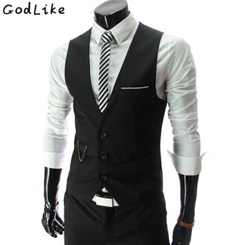 New Arrival 2017 Dress Vests For Men Slim Fit Mens Suit Vest Male Waistcoat Gilet Homme Casual Sleeveless Formal Business Jacket