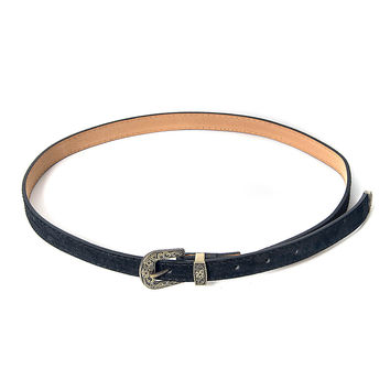 Black Etched Buckle Embellished PU Waist Belt