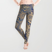 Blue and Gold Mandala Pattern Leggings by Julie Erin Designs | Society6