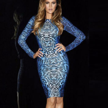 Blue Leopard Print Low Back Long Sleeve Midi Bodycon Dress