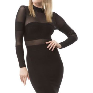 Round Neck Mesh Bandage Dress