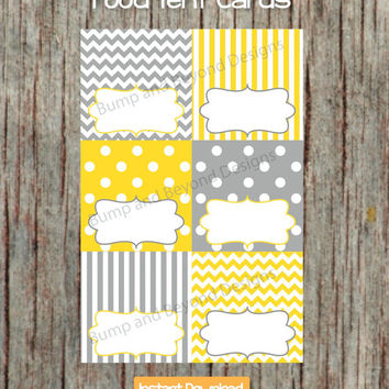 Yellow Grey Food Tent Cards INSTANT DOWNLOAD PDF Digital Printable Party Supplies Boy Girl Baby Shower Birthday Party Name Labels diy 01