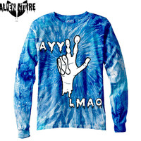AYY LMAO long sleeve tie dye tee alien