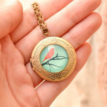 Bird And Branch Locket Necklace