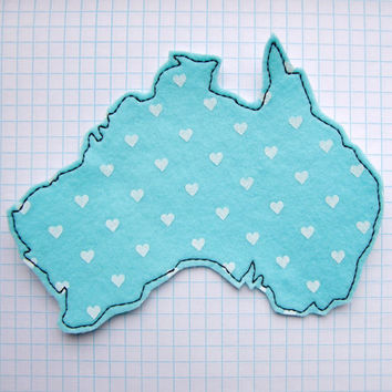 Iron On Sew On Patch Australia with Hearts Map Felt Applique in Baby Blue