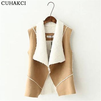 Cardigan Female Jacket Women Coats Leather Faux Fur Mujer Vest Khaki Jackets Lady Fall Open Front Fake Fleece Clothes S225