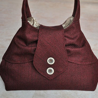 Beautiful maroon purse, burgundy pleated shoulder bag, elegant handbag, cute tote bag with brown and tan floral lining, and pockets