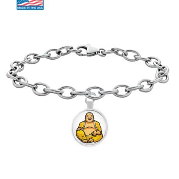 Happy Buddha Bracelet - Laughing Buddhist Pendant Charm Jewelry - Maitreya Sitting Monk Gold