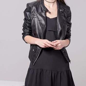Leather-look biker jacket - JACKETS - WOMAN | Stradivarius United Kingdom