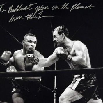 LMFONY Mike Tyson Signed Autographed 'The Baddest Man On The Planet' Glossy 16x20 Photo vs. Rocky Marciano (ASI COA)