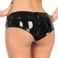 DCCKKFQ 220D High Quality PVC Leather Mini Sexy Shorts Low Waist Women Faux Leather Night Club Dance Wear Hot Female Bermuda Feminina