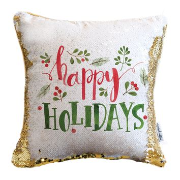 Happy Holidays Pillow with White & Gold Reversible Sequins | COVER ONLY (Inserts Sold Separately)