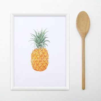 Pineapple Watercolor Painting - 8x11 Kitchen Art, Fruit Print, Food Art - Minimal, Tropical Wall Decor
