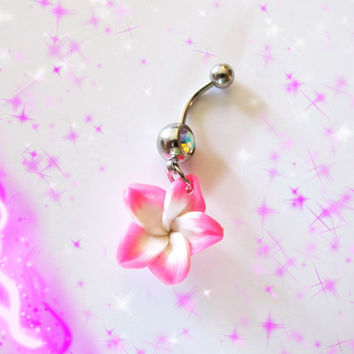 Belly Ring, Pink Hawaiian Plumeria Flower, Belly button Navel Ring, Belly Button Jewelry for Her