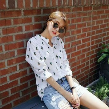 ONETOW 2017 New Summer Women Blouse Linen Long Sleeve Shirts Cactus Printed White Loose Blouse Leisure Tops Plus Size Hot Sale YC