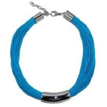 Necklace Stainless Steel Art Piece with 60 Waxed Cotton Turquoise Cords  40 cm  adjustable clasp
