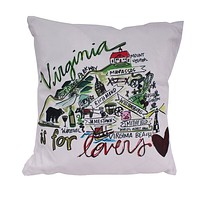 Virginia Roadmap Duck Cloth and Burlap Pillow by Southern Roots