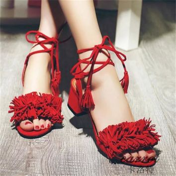 Tassles Suede Chunky Heel Peep-toe Lace Up Ankle Strap Sandals