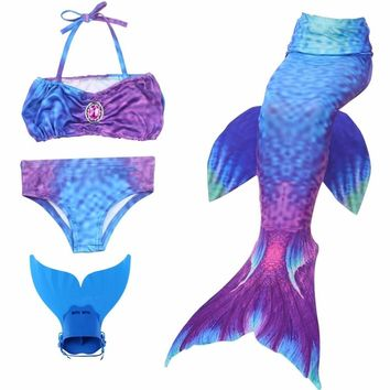 Kid's Mermaid Tails Cosplay Bikini Set Girls Multicolor Bra Shorts Swimming Dress Monofin Suit Children Fish Costume