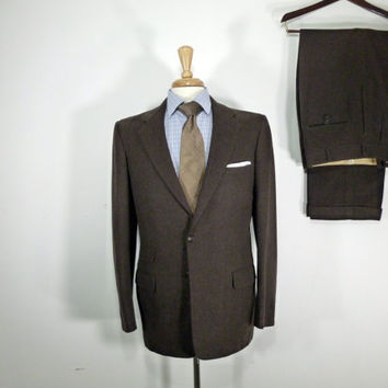 Vintage Mens suit, vintage clothing 50's 60's Custom Tailored Two Piece Two Button Brown Wool Flannel Suit 42