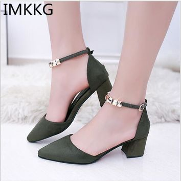 2017 Women Pumps Beading Ankle Strap Sexy High Heel Shoes Thick Heel pointed Toe Shoes