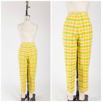1950s Vintage Pants • Sunny Day • High Waisted Yellow Green Plaid Cotton Late 50s Pants Size Medium