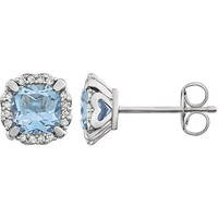 14kt White Gold Sky Blue Topaz & 1/10 CTW Diamond Earrings