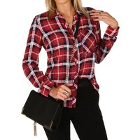Red Double Front Pocket Plaid Shirt