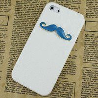 Blue moustache And White  Hard Skins Leather Case Cover for Apple iPhone5 Case, iPhone 5 Cover,iPhone 5 Case, iPhone 5g