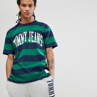 Tommy Jeans Collegiate Capsule Stripe T-Shirt in Green at asos.com